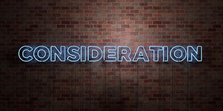 CONSIDERATION - fluorescent Neon tube Sign on brickwork - Front view - 3D rendered royalty free stock picture Royalty Free Stock Images
