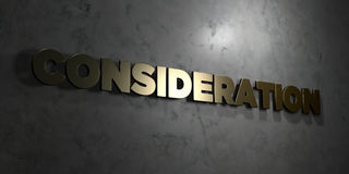 Consideration - Gold text on black background - 3D rendered royalty free stock picture Royalty Free Stock Photography