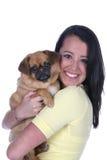 Consideravelmente adolescente e seu cão Fotografia de Stock Royalty Free