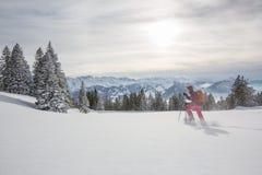 Consideravelmente, jovem mulher que snowshoeing nas montanhas altas imagem de stock royalty free