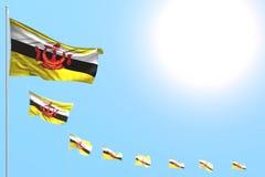 Consideravelmente muitas bandeiras de Brunei Darussalam Darussalam colocaram diagonal com foco macio e espaço livre para o texto  ilustração do vetor