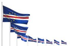 Consideravelmente muitas bandeiras de Cabo Verde colocaram a diagonal isolada no branco com espaço para seu índice - toda a ilust ilustração stock