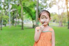 Consideravelmente pouca menina asiática da criança com olhares da lupa na flor no parque do verão foto de stock royalty free
