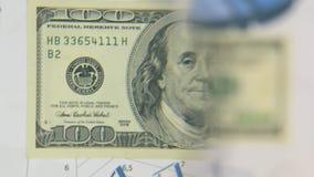 Considere un billete de banco de cientos dólares, un aumento con una lupa almacen de video