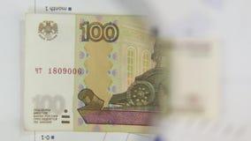 Considere un billete de banco de cientos rublos, un aumento con una lupa almacen de video