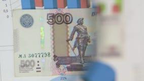 Considere un billete de banco de quinientos rublos, un aumento con una lupa metrajes