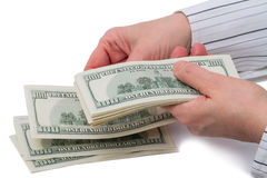 Considered 100 dollar bills Stock Images