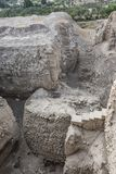 Neolithic tower of nine meters 8000 ac archaeological site Tell es Sultan. Palestinian Jericho stock photography