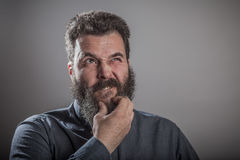 Considering question, Huge beard portrait, mature adult Caucasia Royalty Free Stock Photo