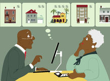 Considering senior housing options. Elderly black couple sitting with a computer and calculator, considering different housing options, Vector illustration, no Royalty Free Stock Image