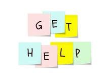 Consiga a ayuda las notas pegajosas stock de ilustración