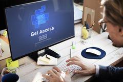 Consiga a disponibilidad del acceso la tecnología en línea obtenible Co de Internet imágenes de archivo libres de regalías