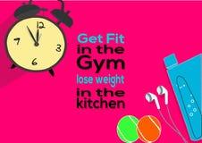 Consiga el ajuste en el gimnasio pierden el peso en la cocina Citas de la motivación de la aptitud libre illustration