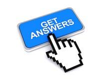 Consiga el botón de las respuestas Foto de archivo libre de regalías