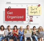 Consiga el concepto organizado de la gestión del calendario del planificador foto de archivo