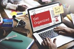 Consiga el concepto organizado de la gestión del calendario del planificador foto de archivo libre de regalías