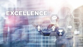 Consiga a excelência do negócio como o conceito Perseguição da excelência Fundo borrado do centro de negócios ilustração do vetor