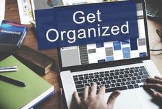 Consiga a la gestión de Orgaized poner concepto del plan de la organización fotos de archivo