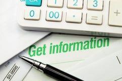 Consiga la información imprimió en un libro imagenes de archivo