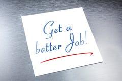 Consiga a mejor Job Reminder On Paper Lying en el aluminio cepillado Imagen de archivo