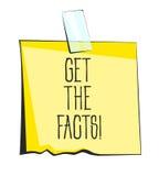 Consiga a papel de los hechos la nota pegajosa Etiqueta engomada retra del recordatorio Foto de archivo