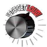 Consigamos el dial ruidoso de la perilla del volumen stock de ilustración