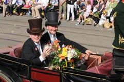 Consigliere federale svizzero Ueli Maurer in una carrozza a cavalli fotografia stock libera da diritti