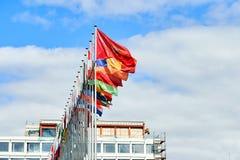 Consiglio d'Europa tutte le bandiere del membro immagini stock libere da diritti
