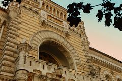 Consiglio municipale di Chisinau corridoio , Chisinau, Moldavia fotografia stock