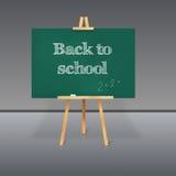 Consiglio scolastico verde con gesso su un treppiede Fotografia Stock Libera da Diritti
