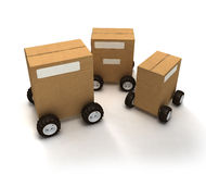 Consignment. 3D rendering of three Brown cardboard boxes with wheels Stock Photo