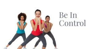 Consista en texto del control y el ejercicio de las mujeres del ajuste imagen de archivo