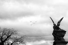 Consistencia y correspondencia de las alas del pájaro, natural y esculpido fotos de archivo