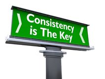 Consistency is the key. The words consistency is the key in a large billboard royalty free illustration