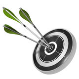 Consistency - teamwork. Three green arrows hitting the center of the same black target, 3d render image over white background Stock Photo