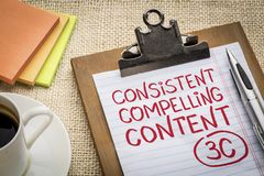 Consistent, compelling content on clipboard. Consistent, compelling content concept - handwriting on a clipboard with a pen, coffee and sticky notes against royalty free stock photo
