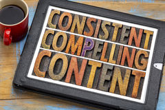 Consistent, compelling content in wood type. Consistent, compelling content concept - recommendation for bloging and social media marketing - a word abstract in stock images