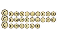 Consistent, compelling content. Word abstract in old round typewriter keys isolated on white royalty free stock photos