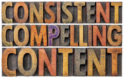 Consistent, compelling content word abstract. Recommendation for bloging and social media marketing - isolated text in vintage letterpress wood type stock image