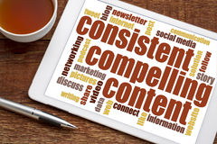 Consistent, compelling content word cloud. Consistent, compelling content - recommendation for bloging and social media marketing - a word cloud on a digital royalty free stock photography