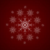 Consisting of snowflakes. Vector round consisting of snowflakes on dark blue background Stock Photos