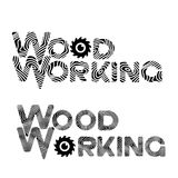 Consisting of two images of the wooden text `woodworking`. In the form of a symbol or logo Stock Images