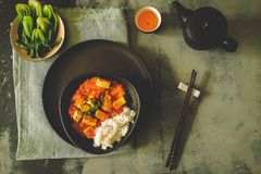 Mapo doufu or Mapo tofu is a popular Chinese dish from Sichuan province Stock Photography