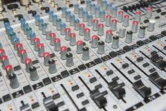 Consola audio con controles del lleno-marco imagen de archivo libre de regalías