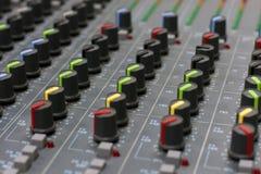 Consola de mezcla audio de la tarjeta Imagen de archivo