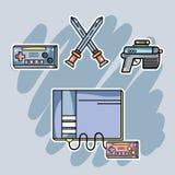 Consola del videojuego con los elementos electrónicos a jugar libre illustration