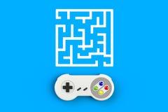 Consola GamePad del videojuego Concepto del juego Palanca de mando retra de la visión superior con el laberinto aislado en fondo  fotos de archivo libres de regalías