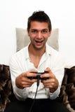 Consola sonriente Gamer Fotos de archivo libres de regalías