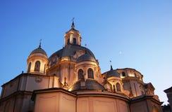 Consolata baroque church domes. Domes of Della Consolata baroque church at dusk in Turin, Italy Stock Photography
