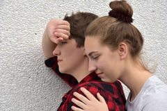 Consolation. Teenage girl consoles her unhappy girlfriend royalty free stock photos